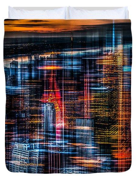 New York- The Night Awakes - Orange Duvet Cover by Hannes Cmarits