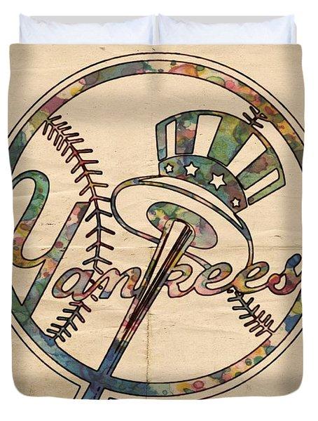 New York Yankees Poster Vintage Duvet Cover by Florian Rodarte