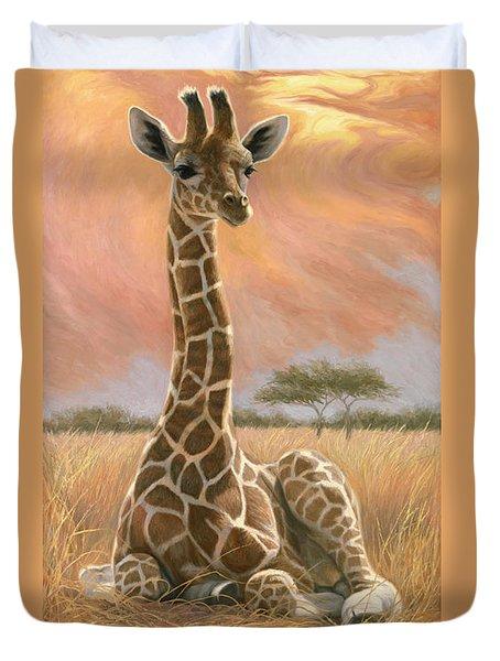 Newborn Giraffe Duvet Cover by Lucie Bilodeau