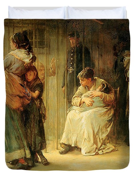 Newgate Committed For Trial, 1878 Duvet Cover by Frank Holl