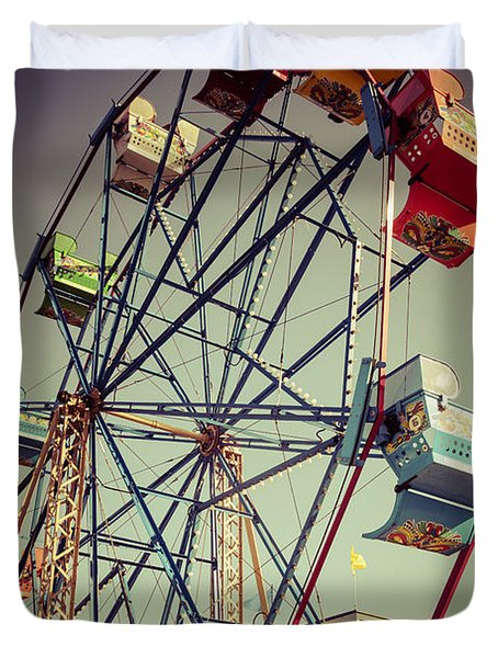 Newport Beach Ferris Wheel in Balboa Fun Zone Photo Duvet Cover by Paul Velgos