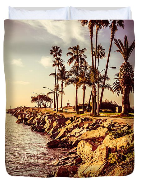 Newport Beach Jetty Vintage Filter Picture Duvet Cover by Paul Velgos
