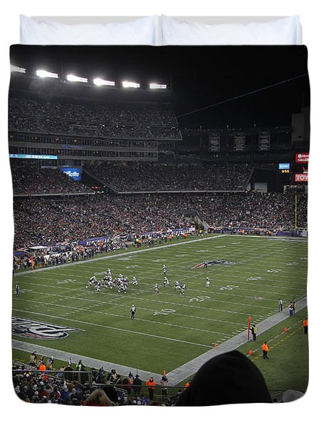 NFL Patriots and Tom Brady Showtime Duvet Cover by Juergen Roth