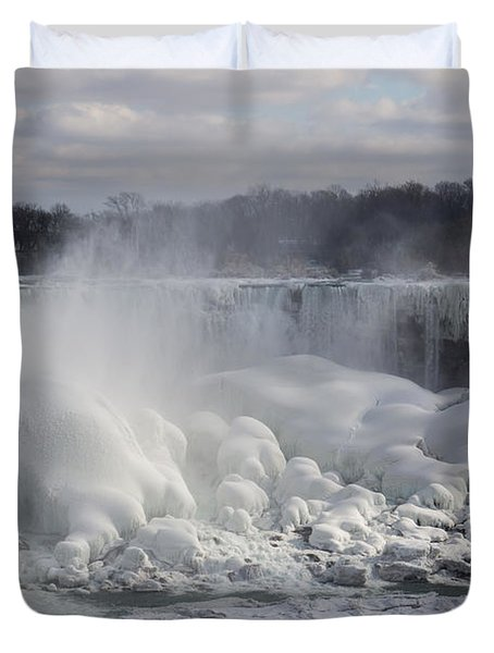 Niagara Falls Awesome Ice Buildup - American Falls New York State Usa Duvet Cover by Georgia Mizuleva