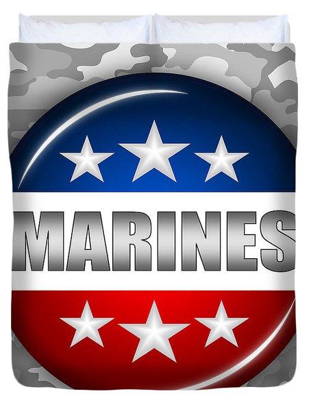Nice Marines Shield 2 Duvet Cover by Pamela Johnson