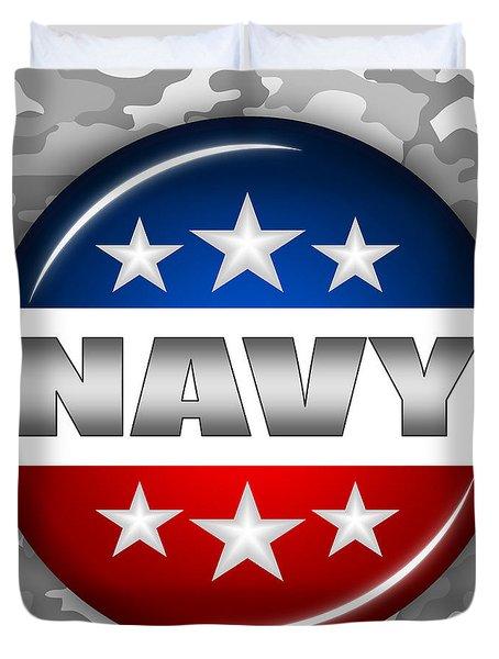 Nice Navy Shield 2 Duvet Cover by Pamela Johnson