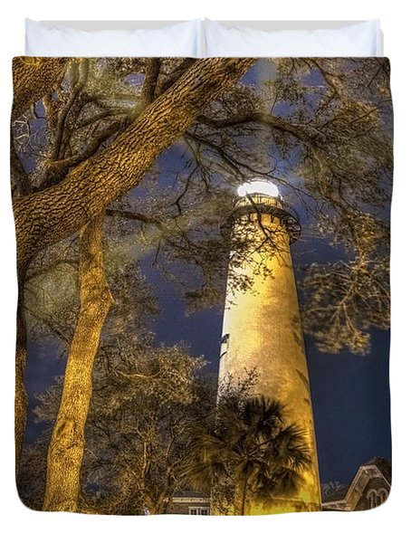 Night Lighthouse Duvet Cover by Debra and Dave Vanderlaan