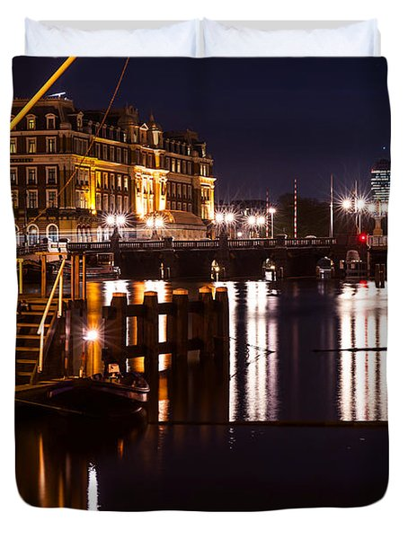 Night Lights On The Amsterdam Canals 2. Holland Duvet Cover by Jenny Rainbow