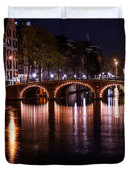 Night Lights On The Amsterdam Canals 4. Holland Duvet Cover by Jenny Rainbow