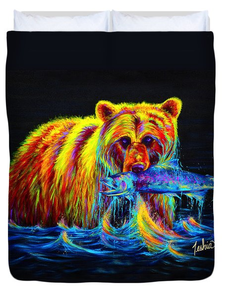 Night of the Grizzly Duvet Cover by Teshia Art