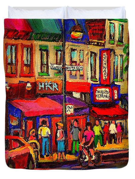 Night Riders On The Boulevard Rue St Laurent And Napoleon Deli Schwartz Montreal Midnight City Scene Duvet Cover by Carole Spandau