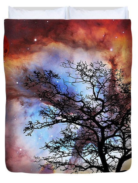 Night Sky Landscape Art By Sharon Cummings Duvet Cover by Sharon Cummings