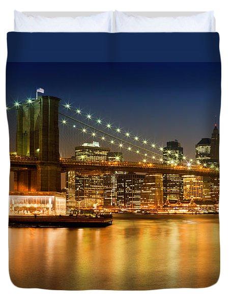 Night-skyline New York City Duvet Cover by Melanie Viola