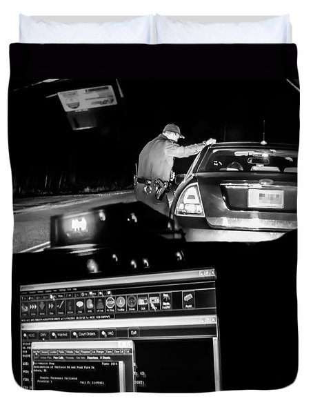 Night Traffic Stop Duvet Cover by Bob Orsillo