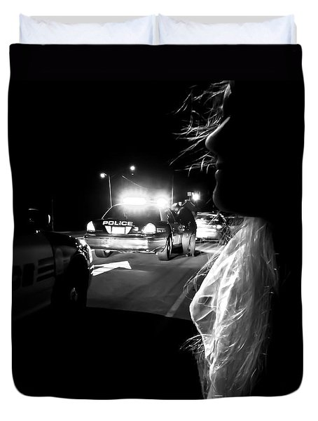Night Traffic Stop Three Duvet Cover by Bob Orsillo