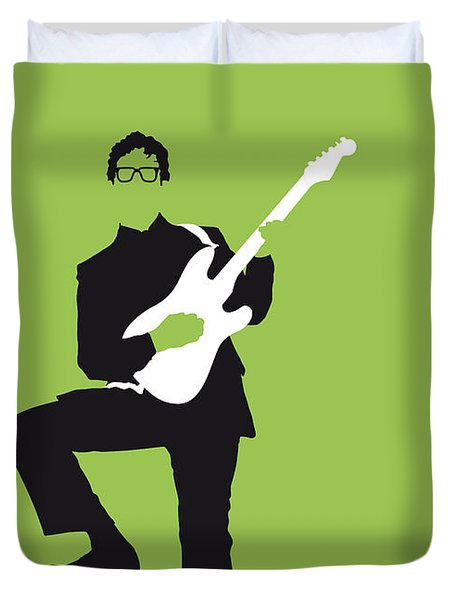 No056 My Buddy Holly Minimal Music Poster Duvet Cover by Chungkong Art