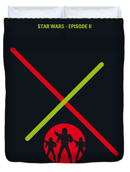 No224 My Star Wars Episode II Attack Of The Clones Minimal Movie Poster Duvet Cover by Chungkong Art