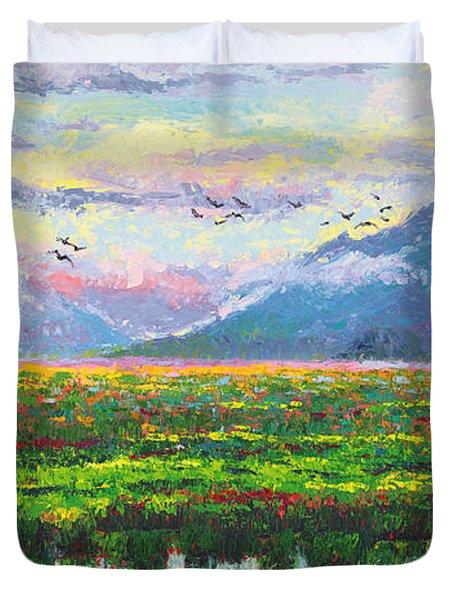 Nomad - Alaska Landscape With Joe Redington's Boat In Knik Alaska Duvet Cover by Talya Johnson