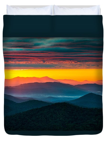 North Carolina Blue Ridge Parkway Morning Majesty Duvet Cover by Dave Allen