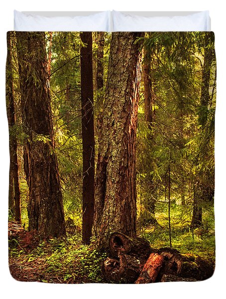 Northern Forest Duvet Cover by Jenny Rainbow