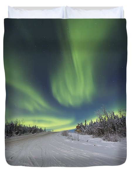 Northern Lights Dancing Over The James Duvet Cover by Lucas Payne