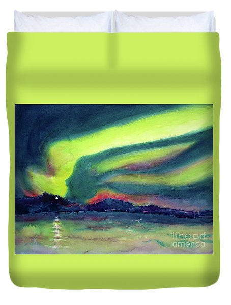Northern Lights On Superior Shores Duvet Cover by Kathy Braud