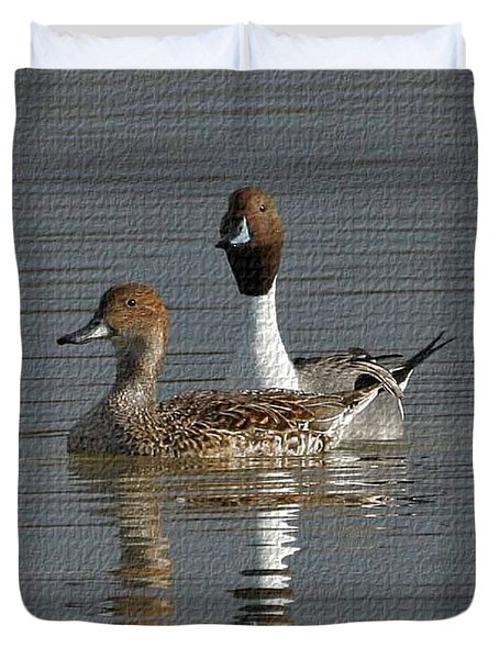 Northern Pintail Pair  Duvet Cover by Tom Janca