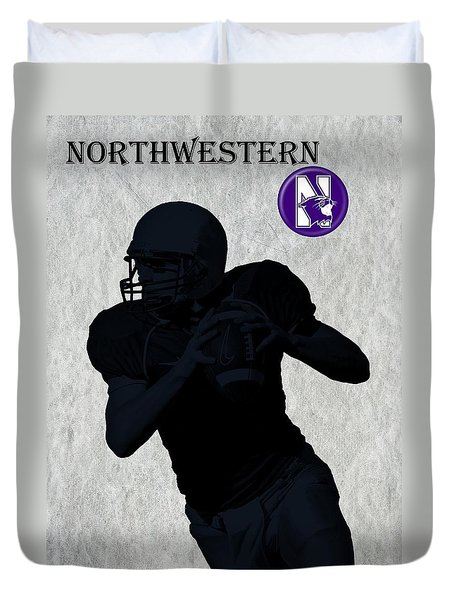 Northwestern Football Duvet Cover by David Dehner