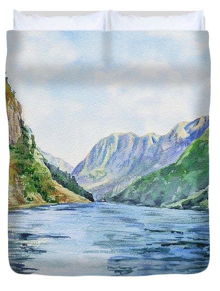 Norway Fjord Duvet Cover by Irina Sztukowski