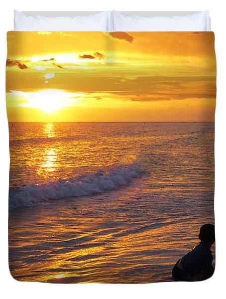 Not Yet - Sunset Art By Sharon Cummings Duvet Cover by Sharon Cummings