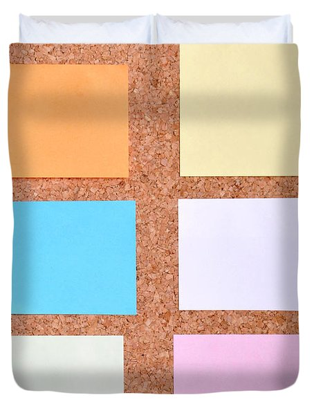 Notes On A Bulletin Board Duvet Cover by Luis Alvarenga