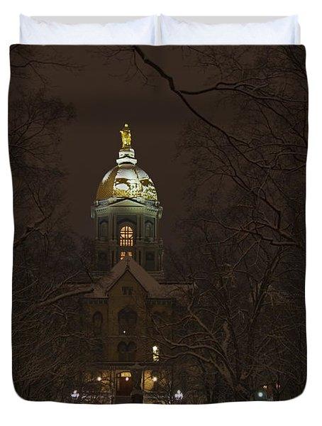 Notre Dame Golden Dome Snow Duvet Cover by John Stephens