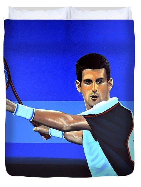 Novak Djokovic Duvet Cover by Paul  Meijering