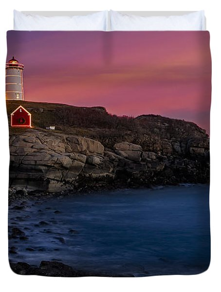 Nubble Lighthouse At Sunset Duvet Cover by Susan Candelario