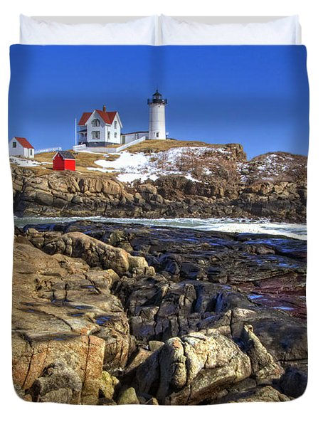 Nubble Lighthouse Duvet Cover by Joann Vitali