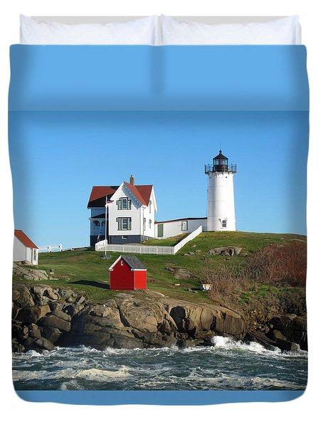 Nubble Lighthouse One Duvet Cover by Barbara McDevitt