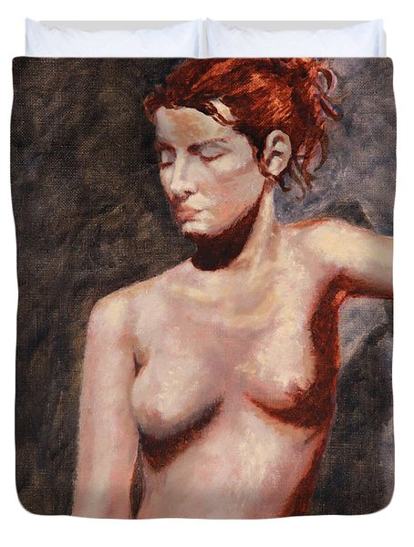 Nude French Woman Duvet Cover by Shelley  Irish