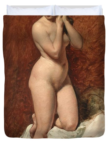 Nude From The Front Duvet Cover by William Etty