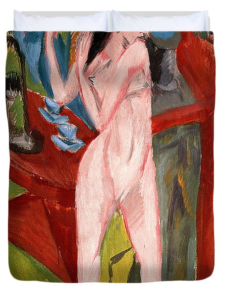 Nude Woman Combing Her Hair Duvet Cover by Ernst Ludwig Kirchner