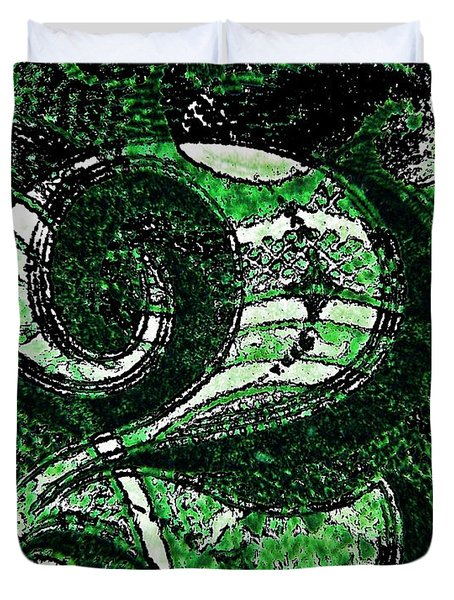 Number Two In Green  Duvet Cover by Chris Berry
