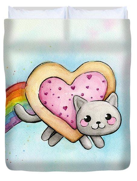 Nyan Cat Valentine Heart Duvet Cover by Olga Shvartsur