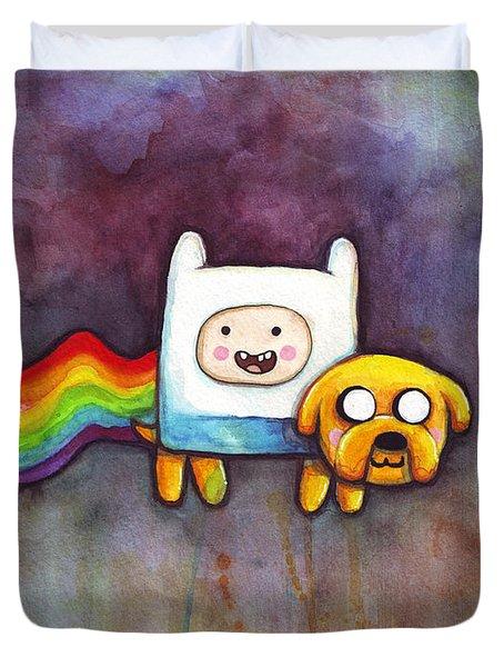 Nyan Time Duvet Cover by Olga Shvartsur