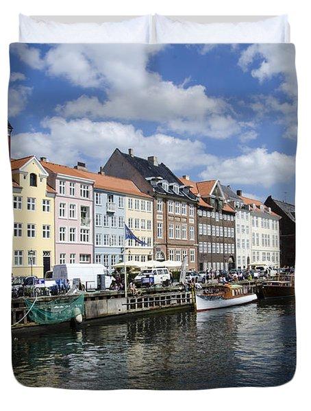 Nyhavn - Copenhagen Denmark Duvet Cover by Jon Berghoff
