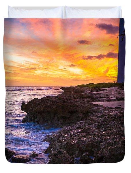 Oahu Lighthouse Duvet Cover by Inge Johnsson