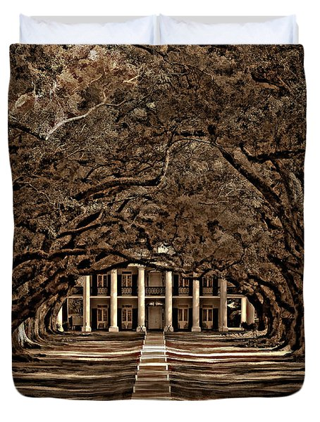 Oak Alley Bw Duvet Cover by Steve Harrington