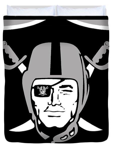 Oakland Raiders Duvet Cover by Tony Rubino