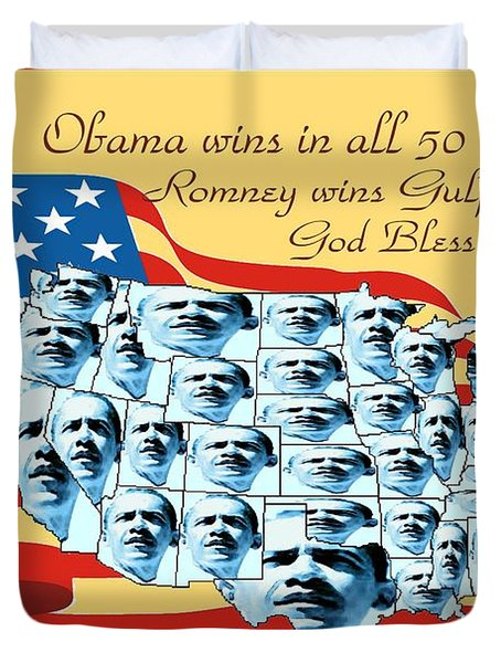 Obama Victory Map America 2012 - Poster Duvet Cover by Peter Fine Art Gallery  - Paintings Photos Digital Art