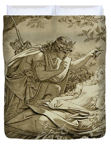 Oberon And Titania Duvet Cover by English School