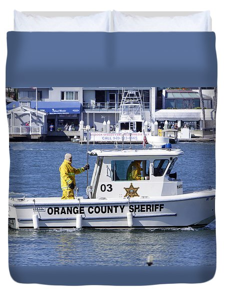 Oc Sheriff Ready For The Fire Duvet Cover by Shoal Hollingsworth