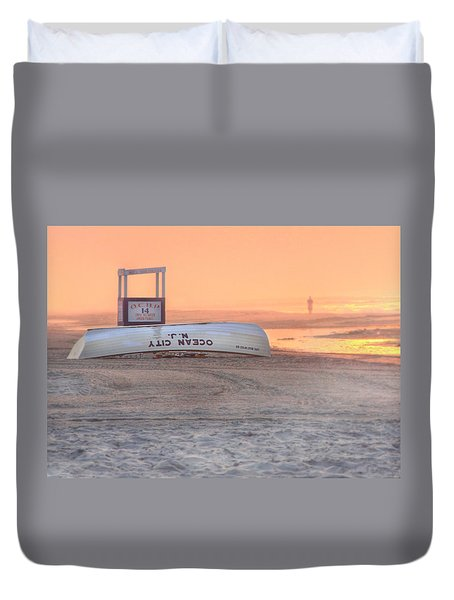 Ocean City Beach Patrol Duvet Cover by Lori Deiter